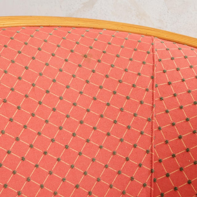 Mid-Century Modern Split Reed Curved Sofa With Red Original Upholstery Fabric For Sale - Image 3 of 9