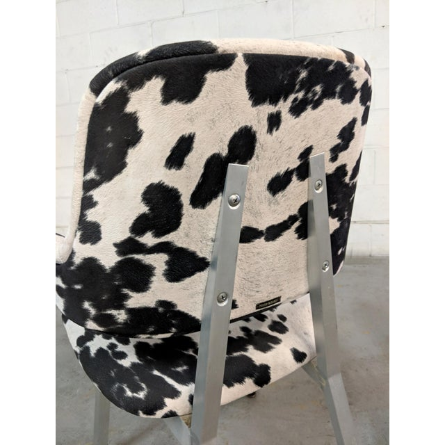1970s Mid Century Modern Shaw Walker Faux Cowhide & Aluminum Chair For Sale - Image 5 of 11