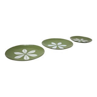 Set of Three Green 'Lotus' Enamel Plates by Arne Clausen for Cathrineholm For Sale