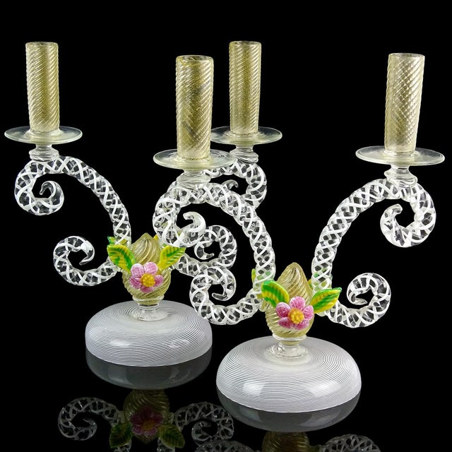 Murano Antique Murano White Filigrana Gold Leaf Flowers Italian Art Glass Mid Century Candlesticks - a Pair For Sale - Image 4 of 10