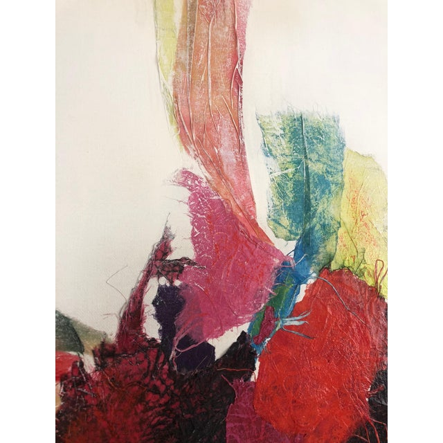 Late 20th Century Large Vintage Abstract Paint and Paper Mache on Canvas by Nettie Hardman For Sale - Image 5 of 12