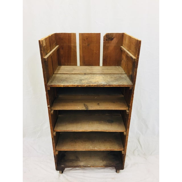 Industrial Antique Wood Factory Cart For Sale - Image 3 of 11