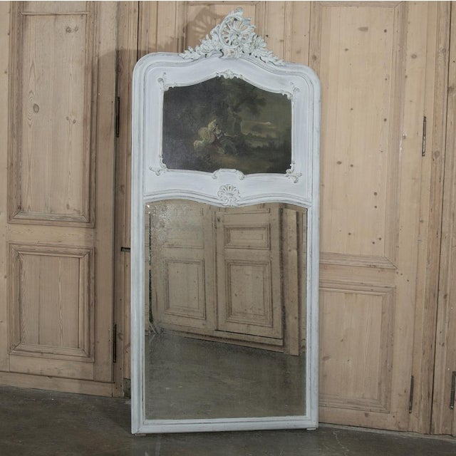 White 19th Century French Louis XV Painted Trumeau/Mirror For Sale - Image 8 of 8