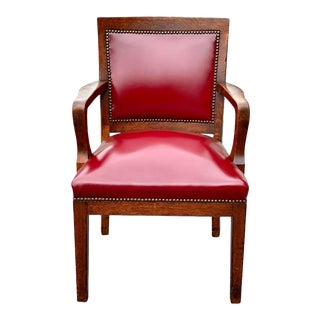 Antique Arts & Crafts Quartersawn Oak Library Bankers Chair With Red Leather For Sale