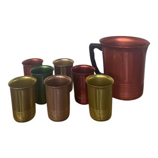 Vintage Mid-Century Modern Anodized Aluminum Pitcher and Tumblers - 8 Piece Set For Sale