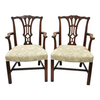 Schmieg & Kotzian Chippendale Style Mahogany Dining Armchairs - a Pair For Sale