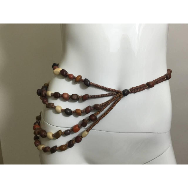 Vintage Wood Bead and Tassel Belt & Necklace For Sale - Image 4 of 6