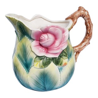 Bright Bold Ceramic Botanical Floral Motif Tea Pitcher in Pink and Green For Sale
