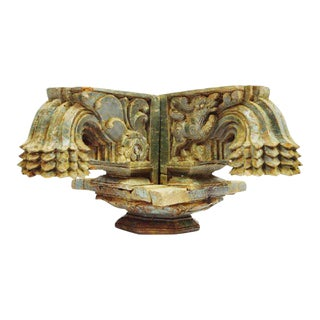Antique Indian Rajasthan Hand Carved Wood Column Capital For Sale