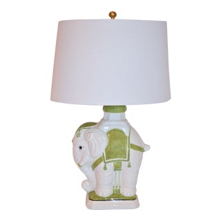 1970s Italian White and Green Elephant Ceramic Lamp with Shade For Sale