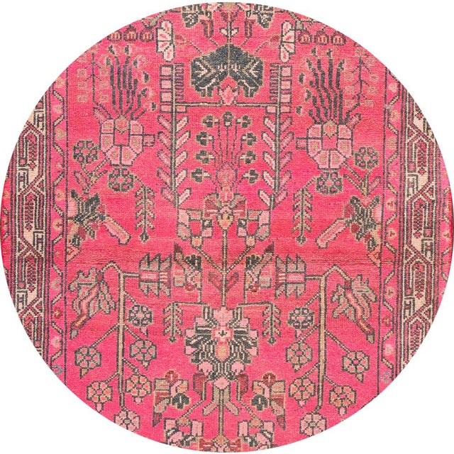 Beautiful Vintage Malayer runner rug, hand-knotted wool with a bright pink field, gray and ivory accents in all-over multi...