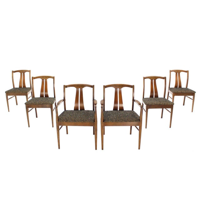 Six Mid-Century Modern Walnut Dining Chairs New Upholstery For Sale - Image 10 of 10