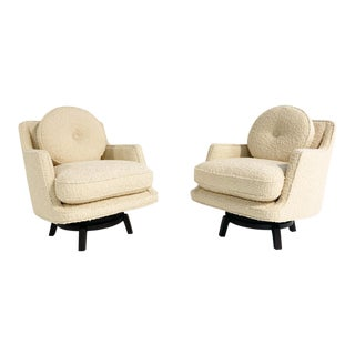 Edward Wormley Swivel Lounge Chairs in Schumacher Boucle - a Pair For Sale