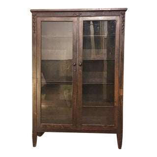 1920s Glass Door Mahogany Bookcase For Sale
