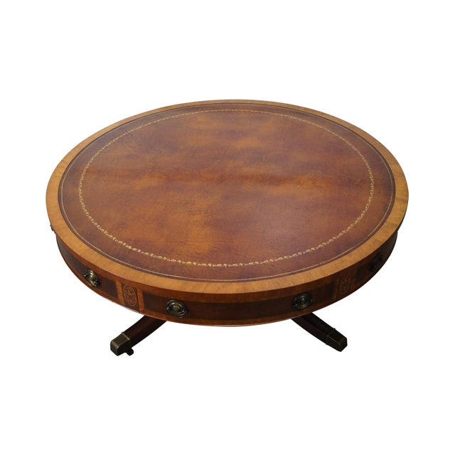Mahogany Inlaid Leather Top Round Federal Style Coffee Table - Image 1 of 10