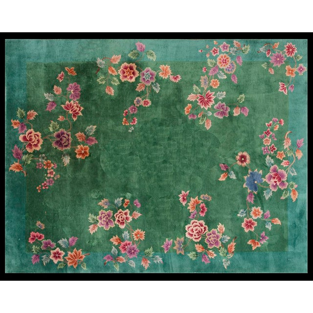 """Textile Chinese Art Deco Green Rug - 8'8""""x11'4"""" For Sale - Image 7 of 7"""