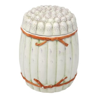 Vintage Italian White Asparagus Jar or Canister For Sale