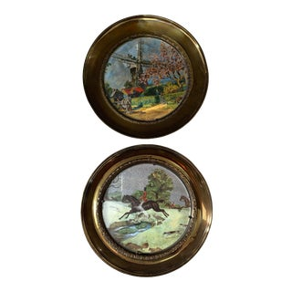 Equestrian Plates With Glass Front/Brass Back - a Pair For Sale