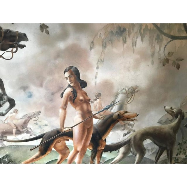 Art Deco Large Art Deco Mural of Diana the Huntress For Sale - Image 3 of 8