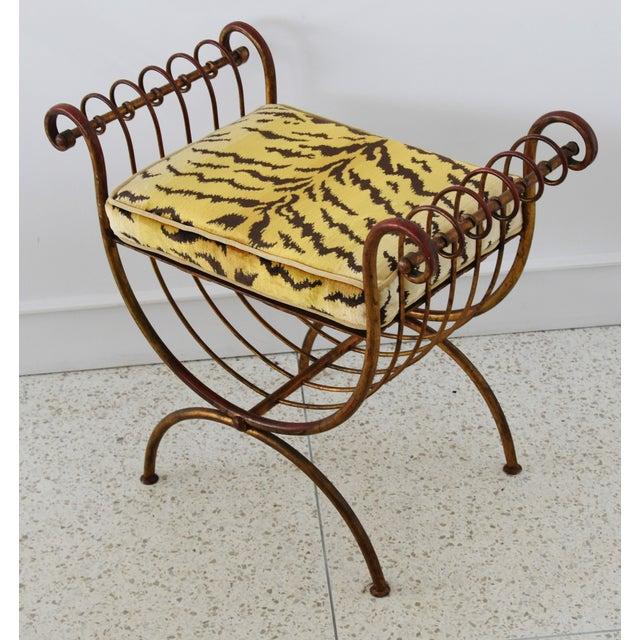 Fabric Scalamandre Velvet Tiger Hollywood Glam Italian Gilt Vanity Bench For Sale - Image 7 of 13