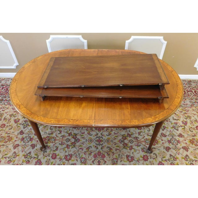 Elm 1980s Banded Walnut & Elm Dining Room Table W/ 2 Leaves For Sale - Image 7 of 10