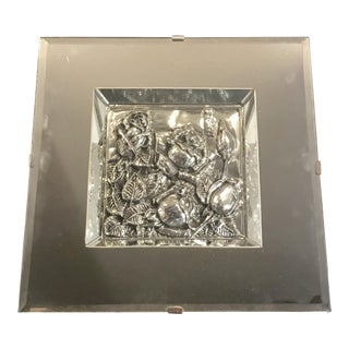 1950s Vintage Signed Sterling Silver Embossed Wall Sculpture For Sale