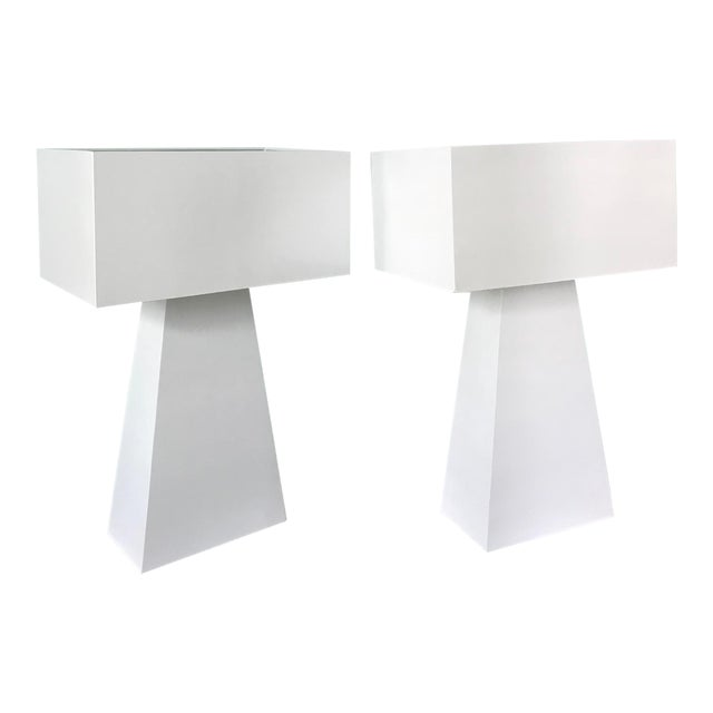 Pair of White Enamel Table Lamps by George Kovacs For Sale