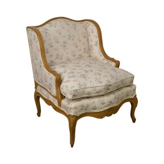 French Louis XV Custom Upholstered Carved Frame Wide Seat Bergere Lounge Chair