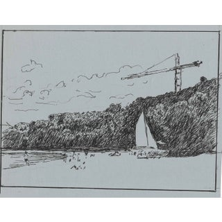 Caribbean Beach Scene With Sailboats on Bay Drawing by Hayward Cirker For Sale