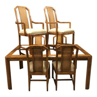 1960s Vintage Mid-Century Smokey Glass and Caned Dining Set - 7 Pieces For Sale