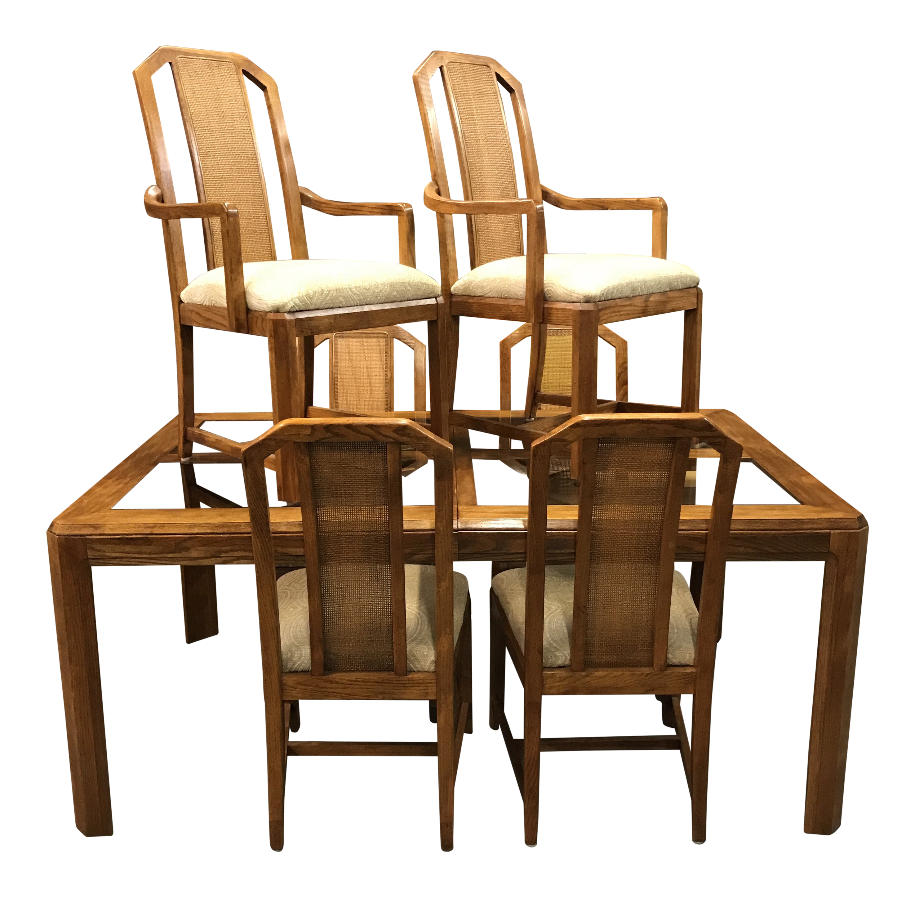 1960s Vintage Mid Century Smokey Glass And Caned Dining Set   7 Pieces For  Sale
