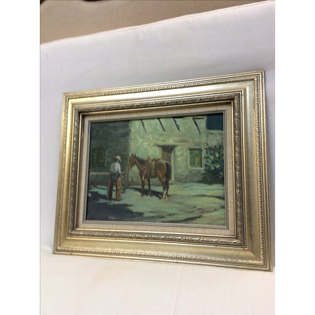 """Early 20th Century """"Cowboy Bringing Flowers"""" Vintage Oil Painting For Sale - Image 5 of 11"""