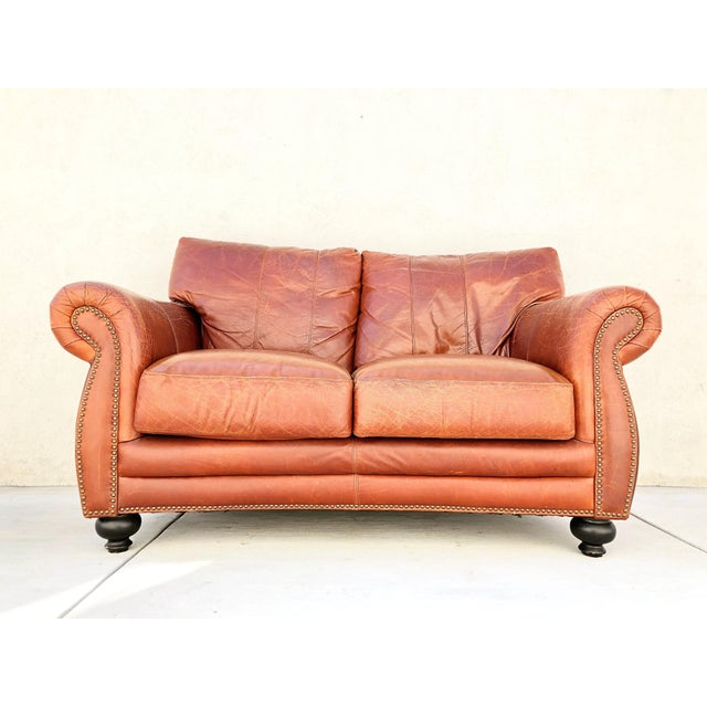 Brown Vintage Rapallo Italian Leather Sofa For Sale - Image 8 of 8