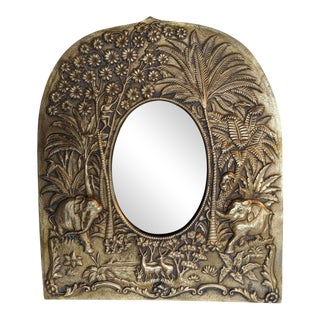 Relief Cast Brass Picture Frame, W/ Jungle Scene, Vintage For Sale
