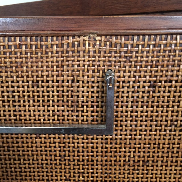 Caning Founders Style Mid-Century Cane & Walnut Buffet For Sale - Image 7 of 11