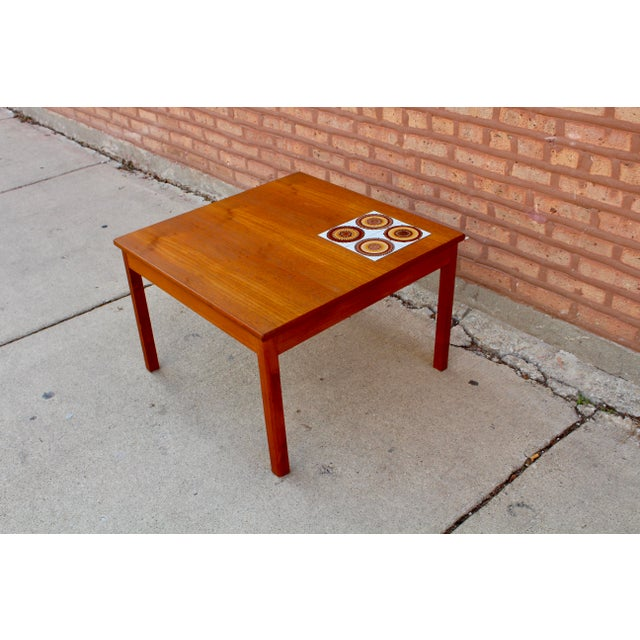 Danish MidCentury Teak Table With Tile Inlay Side Table Chairish - Coffee table with tile inlay