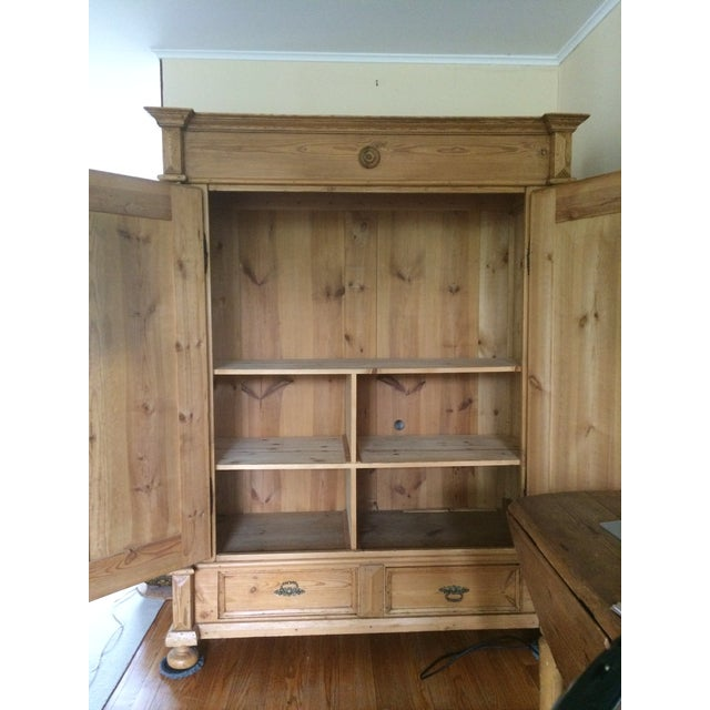 German Antique Pine Armoire For Sale - Image 5 of 6