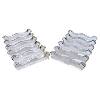 French Sculptural Glass Knife Rests - Set of 12 For Sale