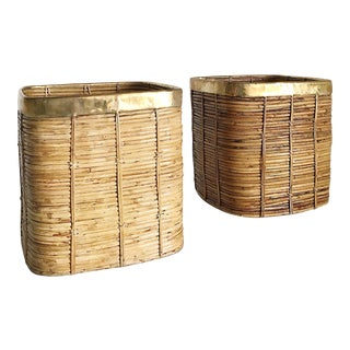 Vintage Italian Rattan Bamboo and Brass Baskets - A Pair