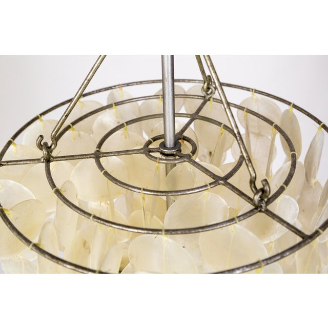 Metal Fine Cascading Capiz Shell Pendant For Sale - Image 7 of 9