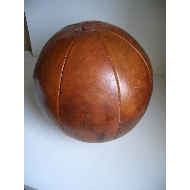 Vintage leather medicine ball by Platura For Sale - Image 9 of 11