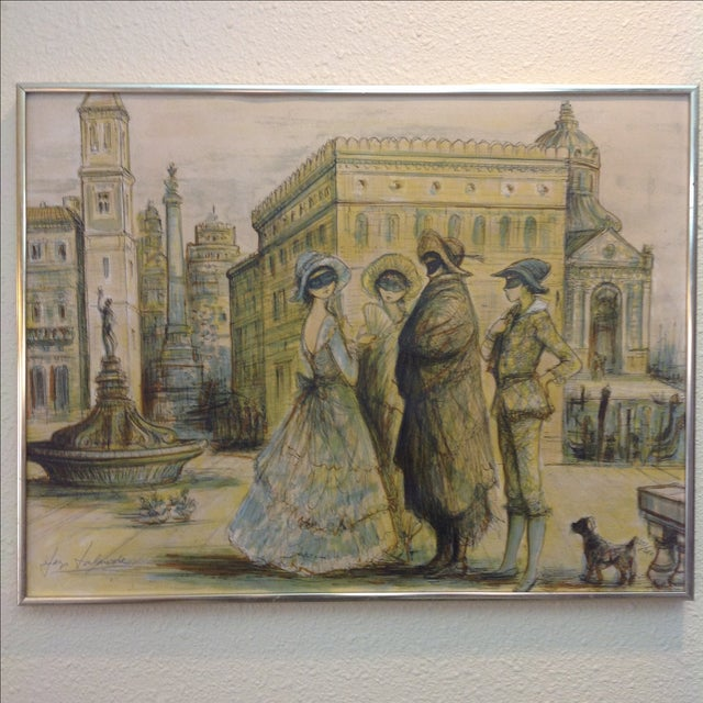 1977 Masquerade a Venice Litho Print by Jacques Lalande - Image 2 of 7