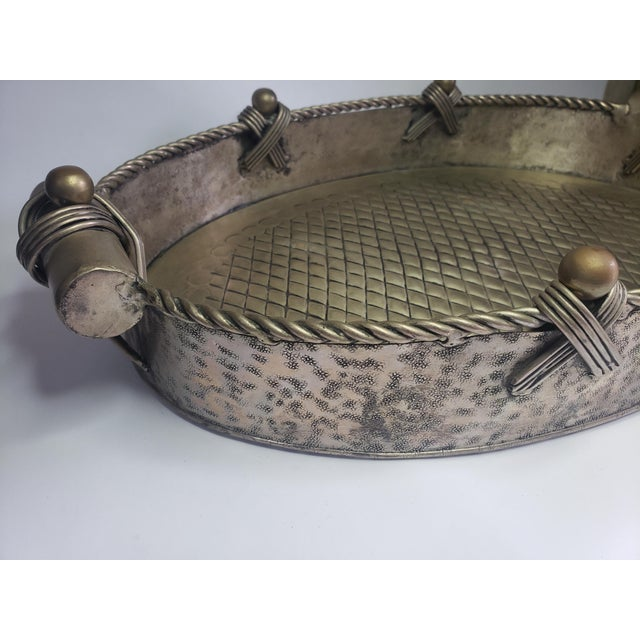 Vintage John Richard Collection Silver Plate Hammered Serving Tray For Sale In West Palm - Image 6 of 13