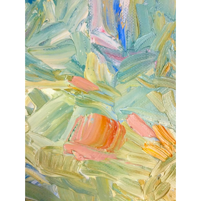 Green 1970s Abstract Juan Guzman Palm Trees Landscape Oil Painting For Sale - Image 8 of 10
