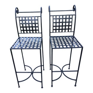 Salterini Mario Papperzini Style Wrought Iron Bar Stools - a Pair For Sale
