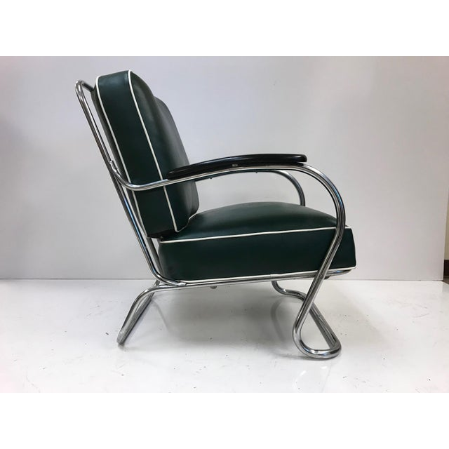 Art Deco Pair of KEM Weber for Lloyd Tubular Chrome Lounge Chairs For Sale - Image 3 of 5