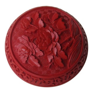 Vintage Chinese Cinnabar Lacquer Domed Box For Sale