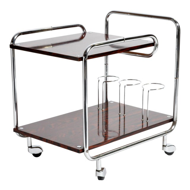 Mid-Century Modern Hungarian Chrome and Rosewood Bar Cart For Sale