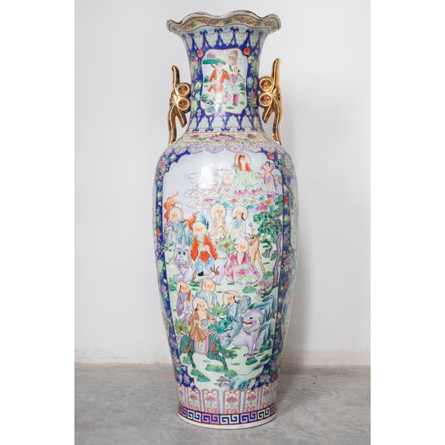 Cantoni Large Baluster Floor Vase of Chinese Canton Famille for European Market For Sale - Image 4 of 6