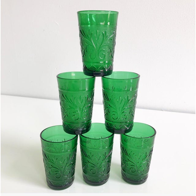 1960s Set of Six Vintage 1960s Kelly Green Juice Glasses For Sale - Image 5 of 8